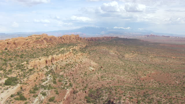 ws aerial view along klondike bluffs in arches national park / utah, united states - klondike stock videos and b-roll footage