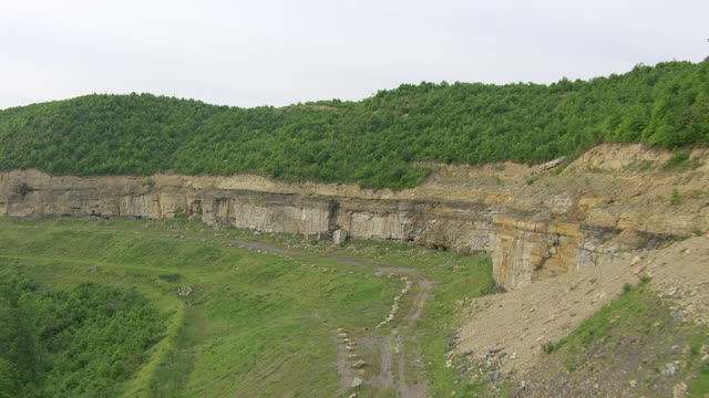 MS TS AERIAL View along rocky ridge at former Red Cedar Surface Mine / Madison, West Virginia, United States