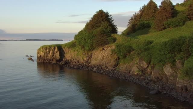 WS AERIAL View approach and flying over greenery to rocky bluffs along edge of Kodiak Island / Kodiak Island, Alaska, United States