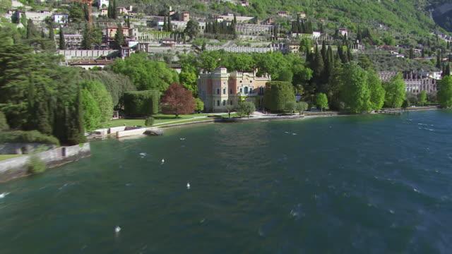 WS AERIAL View approach to castle / Lake Garda, Trentino, Verona, Brescia