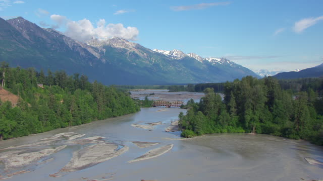 WS AERIAL View approach to Chilkat River low running river / Alaska, United States