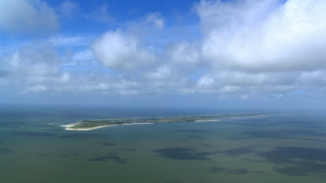 ws aerial zi view approach to sylt island in noth sea / sylt, schleswig holstein - sylt stock videos & royalty-free footage