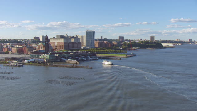 WS AERIAL View approach to Waterway boat docking at Eerie Lackawanna Terminal / Hoboken, New Jersey, United States