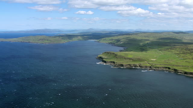 WS AERIAL View approaching north west coast / Isle or island of Mull, Argyll and Bute, Scotland