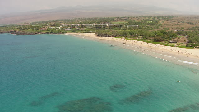 WS AERIAL View approaching to resort on big island / Hawaii, United States