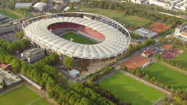 ws aerial zo view approaching towards mercedes benz stadium / stuttgart, baden wurttemberg - baden wurttemberg stock videos and b-roll footage