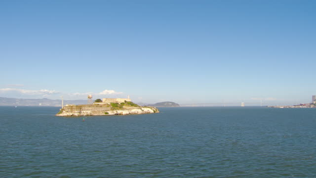ews ds aerial view around alcatraz island and prison complex / san francisco, california, united states - alcatraz island stock videos & royalty-free footage
