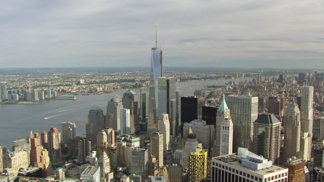 ws aerial ds view around freedom tower in morning light / new york city, nevada, united states - river hudson stock videos & royalty-free footage