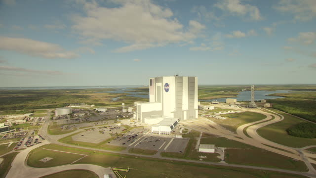 WS AERIAL View around Vehicle Assembly Building at Kennedy Space Center / Florida, United States