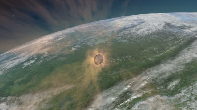 view behind the tunguska impactor as it passes through earths atmosphere - impact stock videos & royalty-free footage