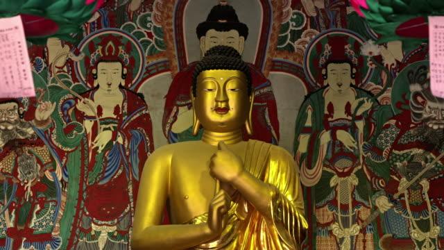 View birojanabuljwasang statues (National Treasure No. 995, built in Silla period)  in Bulguksa Temple (UNESCO World Heritage Site)