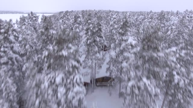 view by drone of torassieppi reindeer farm cabins covered in snow in winter, finnish lapland, finland, europe - winter stock videos & royalty-free footage