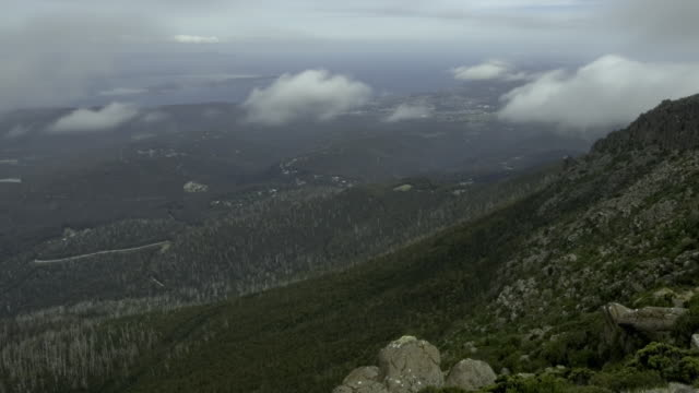 WS T/L PAN View clouds moving over Mount Wellington and valley / Hobart, Tasmania, Australia