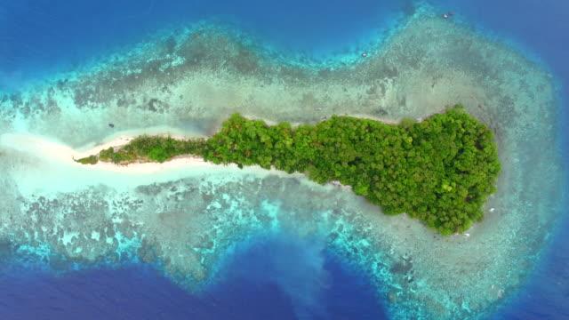 vídeos y material grabado en eventos de stock de view directly above small pacific island - cayo
