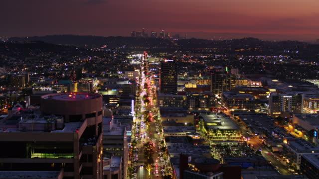 view down brand blvd, glendale towards downtown la - drone shot - boulevard stock videos & royalty-free footage