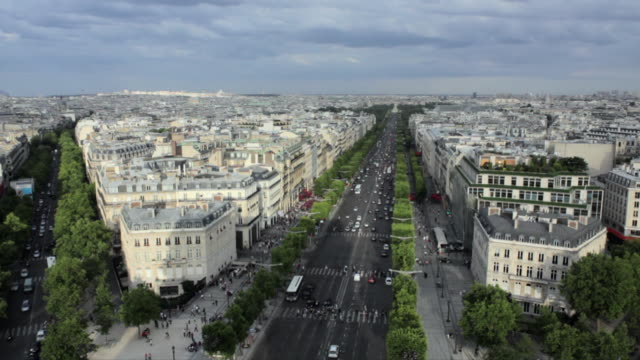WS HA View down Champs-Elysees from top of  Arc de Triomphe, Paris, France