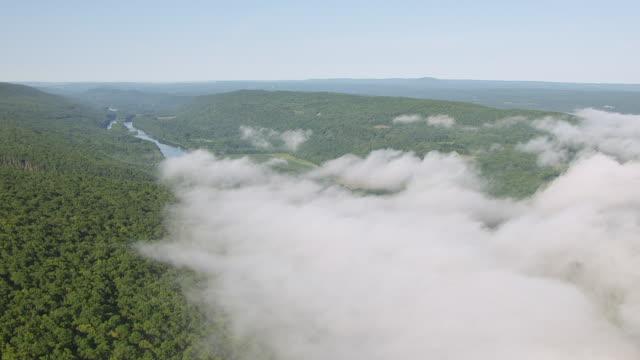 vídeos y material grabado en eventos de stock de ws aerial view flying over fog bank in woods in delaware water gap / new jersey, united states - delaware water gap