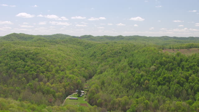 WS AERIAL View flying over hills in Cumberland Plateau in East Kentucky / Kentucky, United States