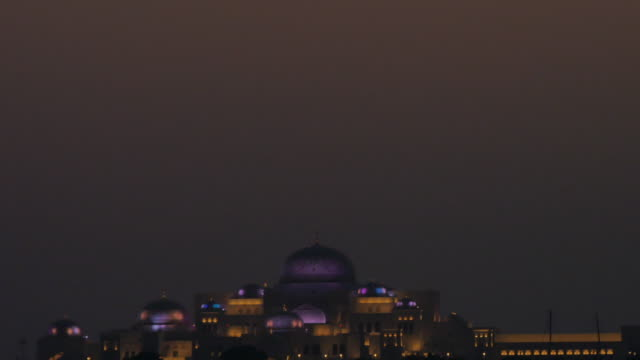 View from 18th Street of Emirates Palace at dusk, Abu Dhabi, United Arab Emirates, Middle East, Asia