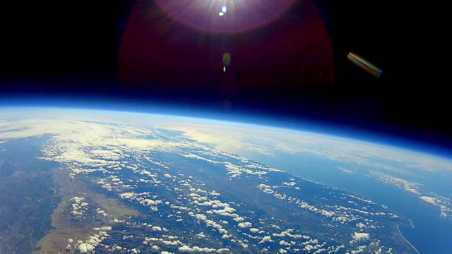 view from a balloon high up in the earth's atmosphere - orbiting stock videos & royalty-free footage