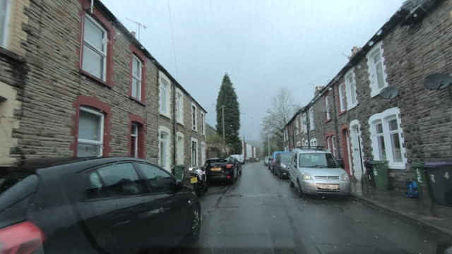 view from a car driving through pontypool during coronavirus lockdown - car point of view stock videos & royalty-free footage