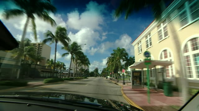 View from a car of deserted streets in Miami Florida after mass evacuation due to Hurricane Irma