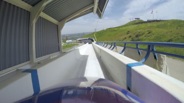 view from a gopro of a bobsleigh down the track - bobsleighing stock videos & royalty-free footage