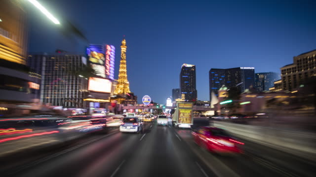 tl view from a moving car on las vegas strip / las vegas, usa - las vegas stock-videos und b-roll-filmmaterial