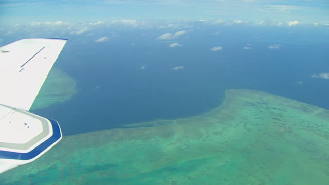 view from a plane of the great barrier reef - 漂白した点の映像素材/bロール