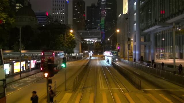vídeos de stock, filmes e b-roll de view from a tram in hong kong - ponto de vista de bonde