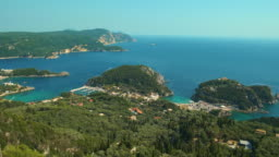 View from above on Paleokastritsa bay in a sunny day
