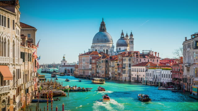 view from accademia bridge on grand canal in venice - international landmark stock videos & royalty-free footage