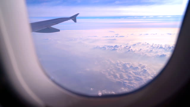 view from airplane window above sea of clouds - mack2happy stock videos and b-roll footage