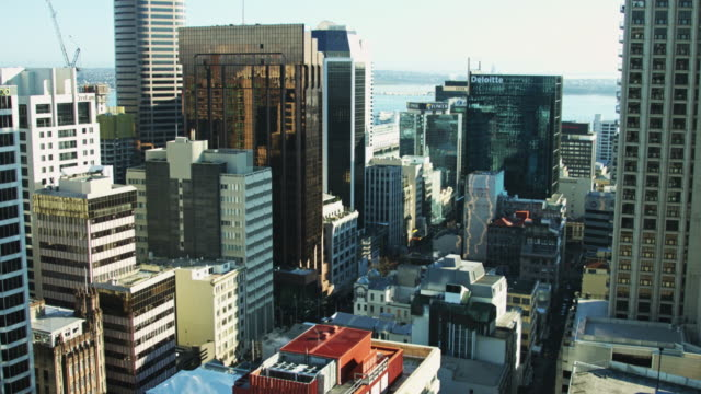 view from auckland window of downtown and marina - bay of water stock videos & royalty-free footage