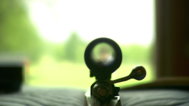 cu r/f view from behind rifle scope revealing man pointing handgun, stowe, vermont, usa - ライフル点の映像素材/bロール