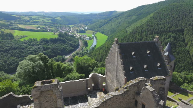 ws view from bourscheid castle to valley of river sure / bourscheid, diekirch, luxembourg - luxembourg benelux stock videos & royalty-free footage