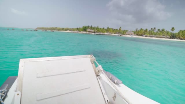 view from bow of boat over aqua waters - hispaniola stock videos & royalty-free footage
