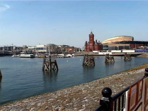 view from bridge, st david's bay, cardiff - cardiff wales stock videos & royalty-free footage