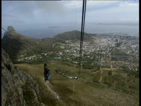 View from cable car travelling up Table Mountain as descending cable car passes Cape Town below.
