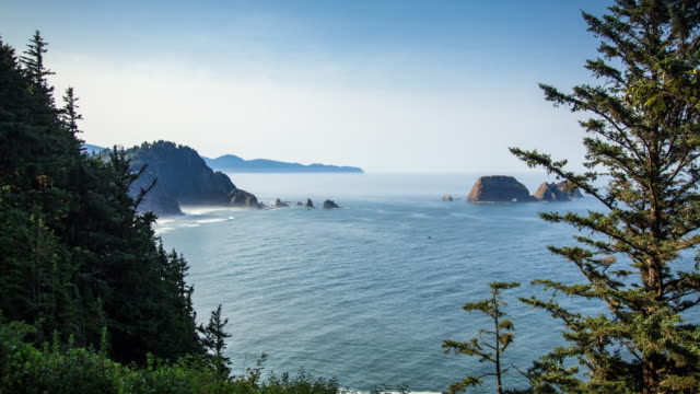 view from cape meares on a blue morning - time lapse - oregon coast stock videos & royalty-free footage