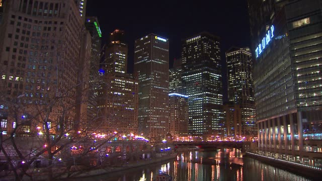 view from chicago's michigan avenue bridge over chicago river on march 11 2015 - michigan avenue bridge stock videos and b-roll footage