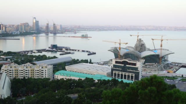 view from dagustu park of baku city - baku video stock e b–roll