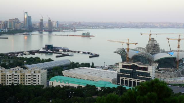 view from dagustu park of baku city - azerbaigian video stock e b–roll