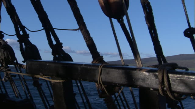 view from deck of replica of hms endeavour. - sailing ship stock videos & royalty-free footage