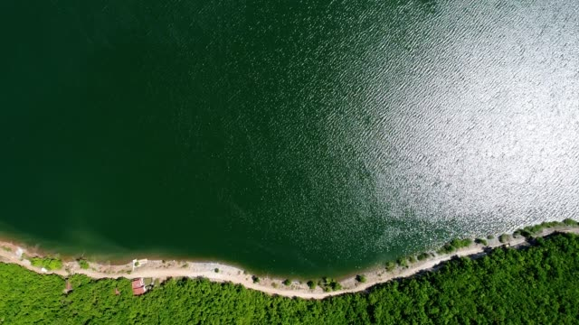 View from directly above on the lake and coastline