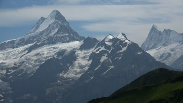 view from faulhorn to schreckhorn and finsteraarhorn, grindelwald, bernese alps, switzerland - bernese alps stock videos & royalty-free footage