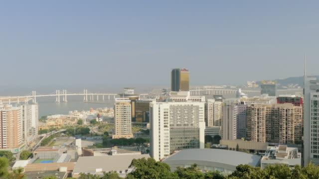 view from guia hill, amizade bridge, macau, china - guia stock videos & royalty-free footage