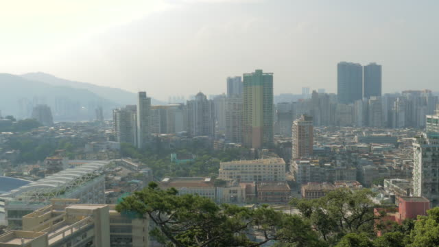 view from guia hill, macau, china - guia stock videos & royalty-free footage