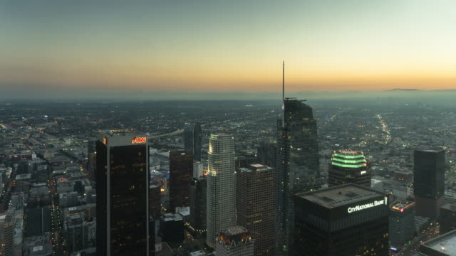 View from High Above Downtown Los Angeles - Day to Night Time Lapse