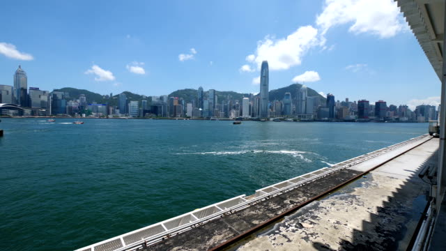 view from hong kong island from victoria harbour - hong kong island stock videos & royalty-free footage